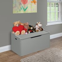 Lift Top Bench Seat Toy Box with Safety Hinge, Gray