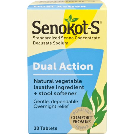 Senokot-S Dual Action 30 Tablets, Natural Vegetable Laxative Ingredient Plus Stool Softener Tablets, Gentle Dependable Overnight Relief of Occasional