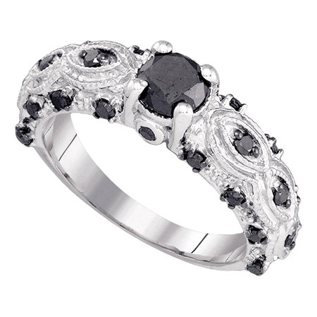 Black Diamond Solitaire Engagement Ring Solid 10k White Gold Fancy Bridal Band Designer Style 1.00 -