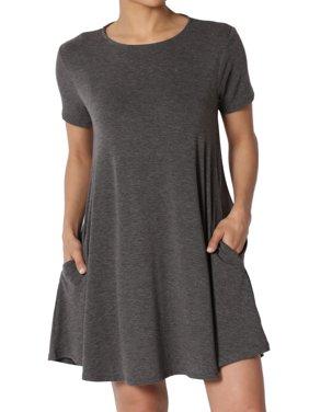 TheMogan Women's S~3X Short Sleeve Crew Neck Draped Trapeze Pocket Short Tunic Dress
