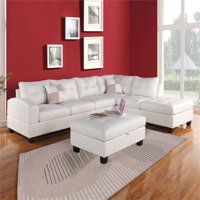 ACME Kiva Reversible Sectional in White Bonded Leather Match