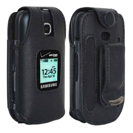 Verizon Leather Fitted Case for Samsung Gusto 3 Cell Phone with Clip Holster - (Verizon Cell Phone Cases)