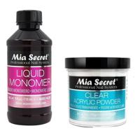 MIA SECRET PROFESSIONAL LIQUID MONOMER 4 oz + CLEAR ACRYLIC POWDER 4 oz NAIL SYSTEM