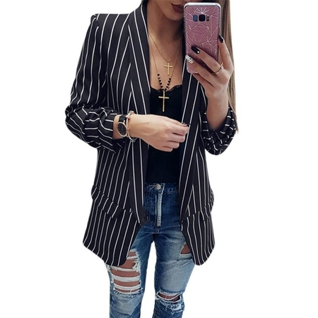 JLONG 1Pcs Womens Casual Work Striped Blazer Slim OL Suit Jacket Button Coat Tops Outwear