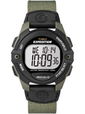 Men's Expedition Full-Size Digital CAT Black/Green Watch, Nylon Strap