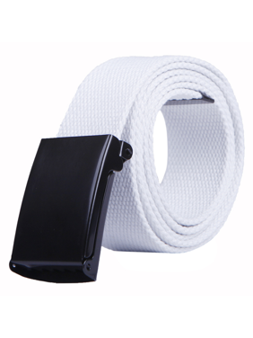 """HDE Mens Military Web Belt Canvas Adjustable Style with Metal Buckle 50"""" Long (White)"""