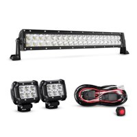 Nilight 22 Inch 120W Spot Flood Combo Led Light Bar 2PCS 4 Inch 18W Spot LED Driving Lights, Off Road Wiring Harness, 2 years Warranty