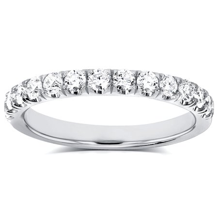 Platinum Pave Set Diamond Band - Diamond Comfort Fit Flame French Pave Band 1/2 carat (ctw) in Platinum