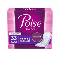 Poise Incontinence Pads for Women, Ultimate Absorbency, Regular, 33 Ct