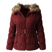 Womens Fur Lined Coat with Belt Quilted Faux Fur Insulated Winter Jacket Parka Outerwear