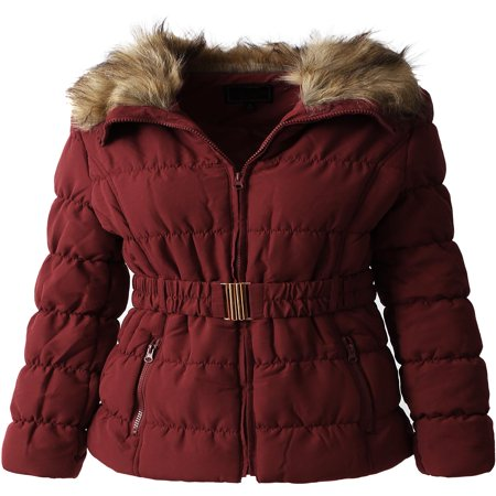 Womens Fur Lined Coat with Belt Quilted Faux Fur Insulated Winter Jacket Parka Outerwear](Ringmaster Jacket Women)