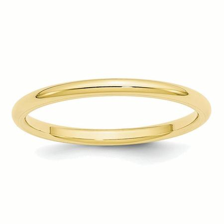 10k Yellow Gold 2mm Standard Comfort Fit Band Ring