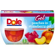(12 Cups) Dole Fruit Bowls Peaches in Strawberry Gel, 4.3 oz cups