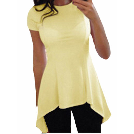 Women O-neck Short Sleeve Irregular Hem Slim Fit Peplum Tunic Tops Blouse (Fit Woven Shirt)