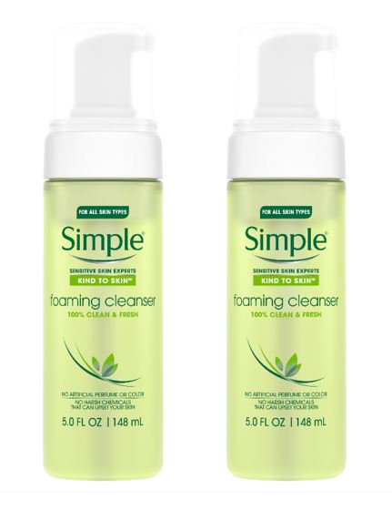 (2 Pack) Simple Kind to Skin Facial Care Foaming Facial Cleanser 5 (Best Skin Care Line For Combination Skin)
