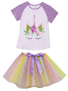 Toddler Girls 2 Pieces Skirt Set Unicorns T-Shirt Top Tutu Tulle Skirt Set Outfit White 2T XS (P201377P)