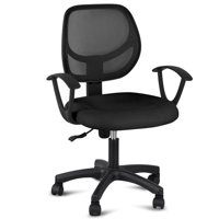 Yaheetech Adjustable Swivel Computer Desk Chair Fabric Mesh Office Chair with Arms Seating Back Rest,Black