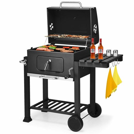Outdoor Patio Grills (Costway Charcoal Grill Barbecue BBQ Grill Outdoor Patio Backyard Cooking Wheels Portable)