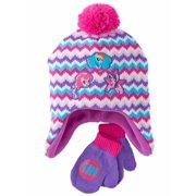 2f1b4d534eb Toddler Girls Pink Chevron My Little Pony Trapper Hat   Mittens Beanie Set