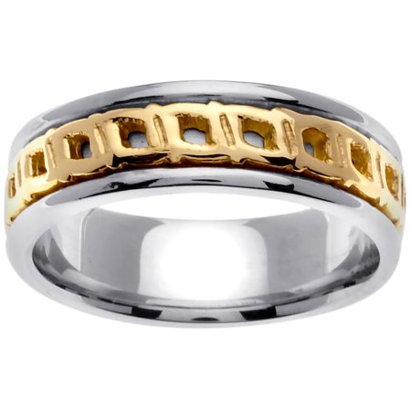 14K Two Tone Gold Four Squares Celtic Comfort Fit Women's Wedding Band (7mm)