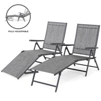 Best Choice Products Set of 2 Outdoor Adjustable Folding Chaise Reclining Lounge Chairs for Patio, Poolside, Deck w/ Rust-Resistant Steel Frame, UV-Resistant Textilene, 4 Back & 2 Leg Positions
