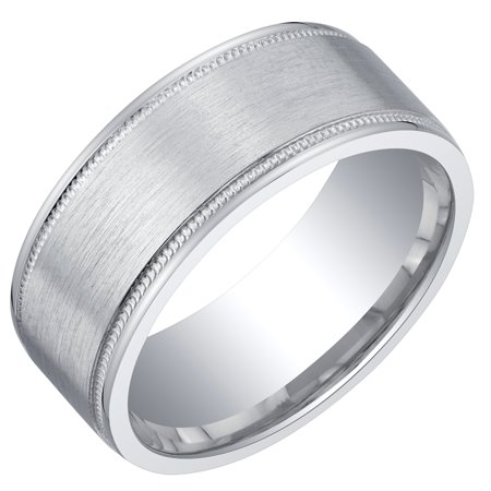 Mens Classic Sterling Silver Wedding Ring Band in Milgrain Brushed Matte 8mm Comfort Fit Sizes 8 to 14