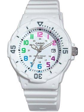 Women's Diver Watch, White Strap and Multi-Colored Numerals