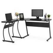 Best Choice Products 3-Piece Home Office L-Shaped Corner Computer Desk Workstation w/ Metal Frame, Foot Pads - Black