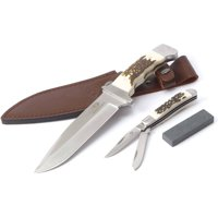 Mossy Oak 2-Pack Stainless Steel Blade Knife Set with Stag Finish