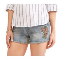 Maternity Jean Shorts w/ Embroidery Detail