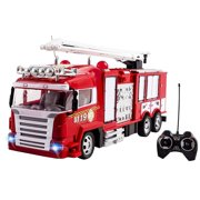 RC Fire Truck Rescue Engine Remote Control Large Kids Toy Fully Functional With Extendable Ladder Music and Flashing Lights Rechargeable Battery Perfect Firetruck Toys for Children Boys And Girls