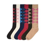 620442b401c Argyle Plaid Print 6 Pack Womens Knee High Socks
