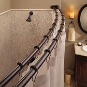 Bennington Adjustable Double Curved Shower Curtain Rod Oil Rubbed Brone