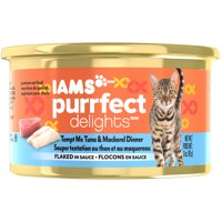 IAMS PURRFECT DELIGHTS Flaked in Sauce Tempt Me Tuna & Mackerel Canned Cat Food 3 oz. (Pack of 24)