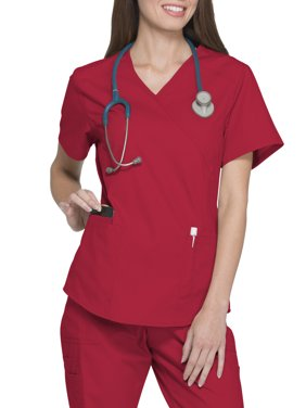 Scrubstar Women's Fashion Essentials Mock Wrap Scrub Top