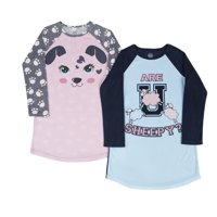 WONDER NATION Fleece Raglan Sleeve 2pk Sleep Gown (Little Girls & Big Girls)