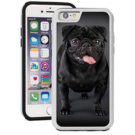 For Apple iPhone 5 5s Shockproof Impact Hard Soft Case Cover Black Pug Dog (White)