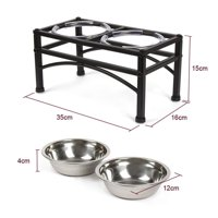Elevated Dog & Cat Feeder - Double Bowl Raised Stand + Extra Two Stainless Steel Bowls, Washable - Perfect for Water, Food or Treats
