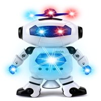 Dancing Toy Robot Figure w/ Colorful Rotating Lights, Music, Dancing Action, 360 Degree Spins! Great birthday present for Kids, Children!