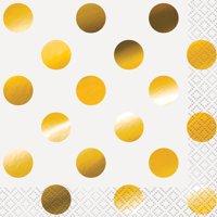 Foil Polka Dot Paper Beverage Napkins, Gold, 16ct