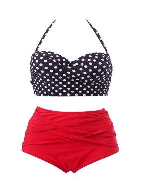 HDE Vintage 50s Pinup Girl Rockabilly High Waist Bikini Swimsuit Set (Black & White Polka Dot, Large)