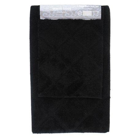 Glass Tile Bath (2 Piece Classic Value Luxury Bathroom Rug Bath Mat, 100% Microfiber, Non-Slip Latex Backing - Machine Washable - 21