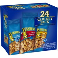 Planters Nut 24 Count-Variety Pack, Salted Peanuts, Honey Roasted Peanuts & Salted Cashews Ready-to-Go Sleeves, 40.5 oz Multi-Pack Box