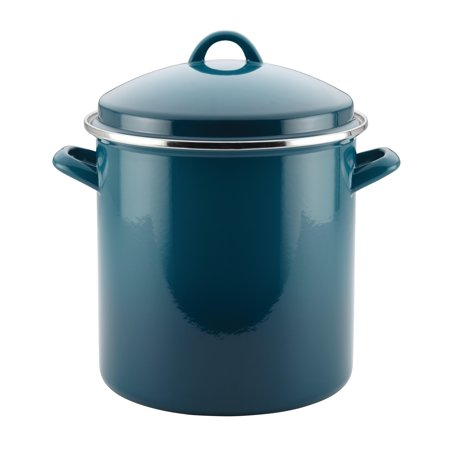 Rachael Ray Enamel on Steel 12-Quart Covered Stockpot, Marine Blue