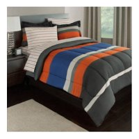 Gray, Orange & Blue Stripes Boys Teen Queen Comforter Set (7 Piece Bed In A Bag)