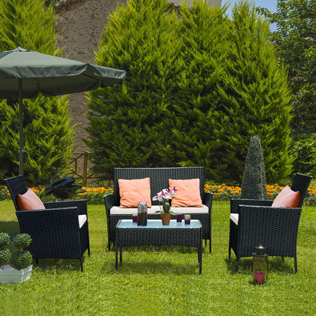 Rattan Settee (Costway 4 PC Outdoor Rattan Furniture Set Loveseat Sofa Cushioned Patio Garden Steel )