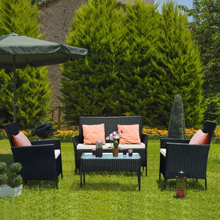Home Garden Patio - Costway 4 PC Outdoor Rattan Furniture Set Loveseat Sofa Cushioned Patio Garden Steel