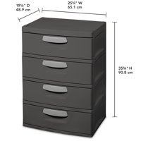 Sterilite, 4 Drawer Unit, Flat Gray