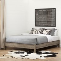 South Shore Munich Platform Bed on Legs, Weathered Oak