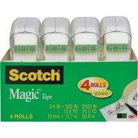 Scotch Magic Tape 4 Pack, 3/4 in. x 500 in. per Roll, 4 Dispensers per Pack